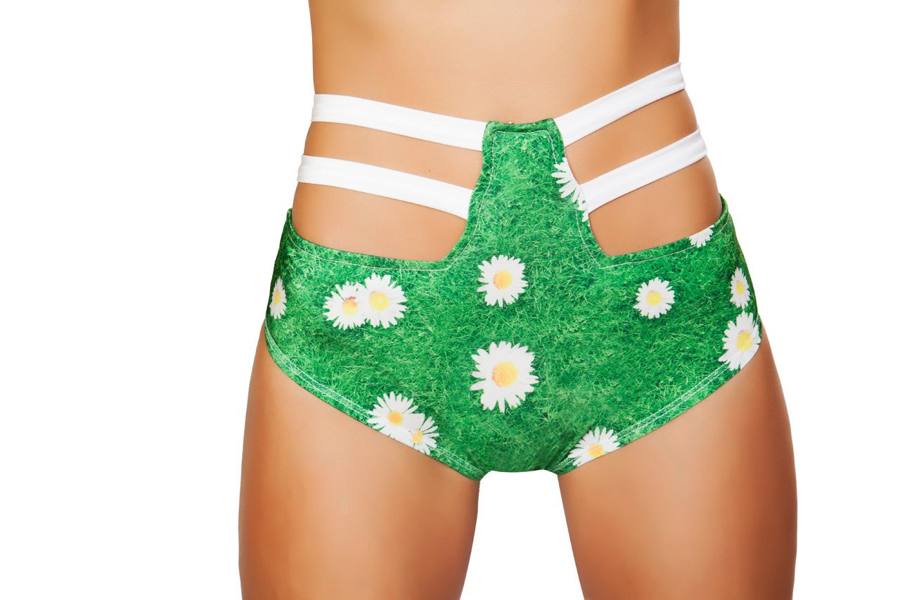 High Waisted Strapped Printed Shorts - Grass