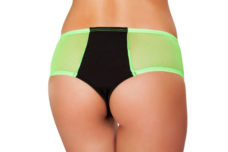 Two Tone Shorts with Sheer Sides - Black/Lime