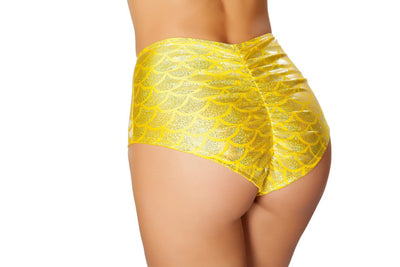 Buy High Waisted Pucker Back Mermaid Shorts from Rave Fix for $18.75 with Same Day Shipping Designed by Roma Costume SH3313-Yellow-S/M