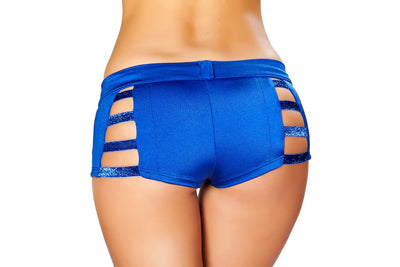 Shorts with Shiny Straps and Button Front Detail