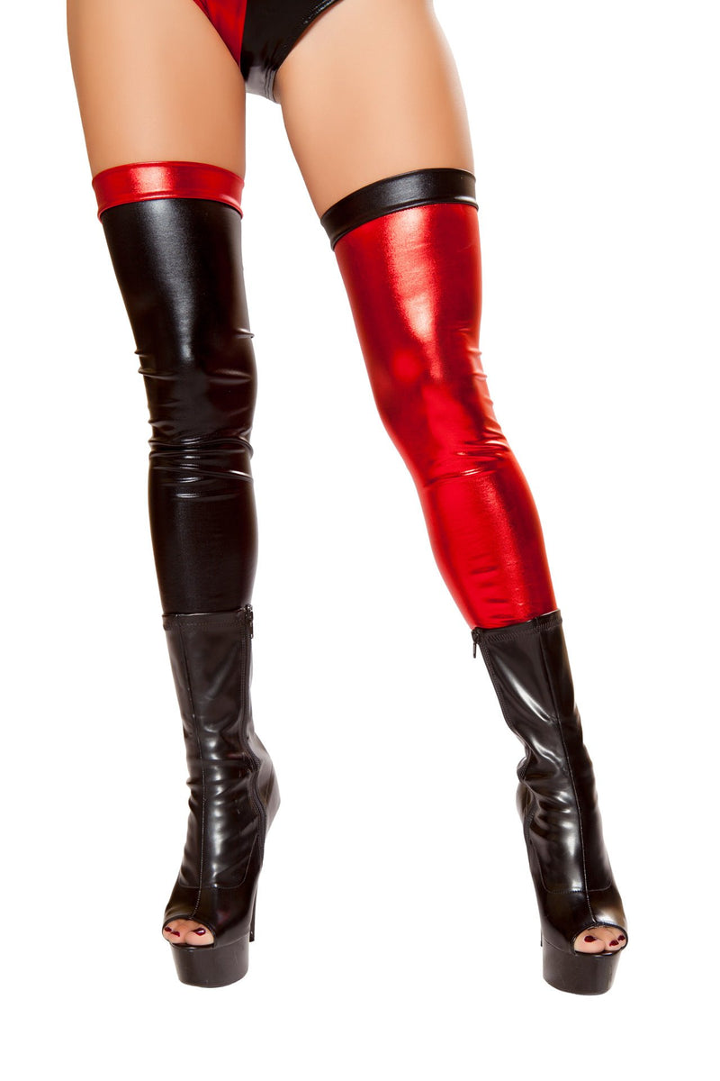 Pair of Black and Red Metallic Leggings