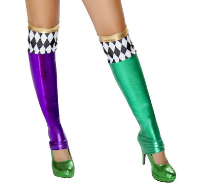 Buy ST4723 - Green/Purple Jester Leggings from Rave Fix for $25.00 with Same Day Shipping Designed by Roma Costume ST4723-AS-O/S