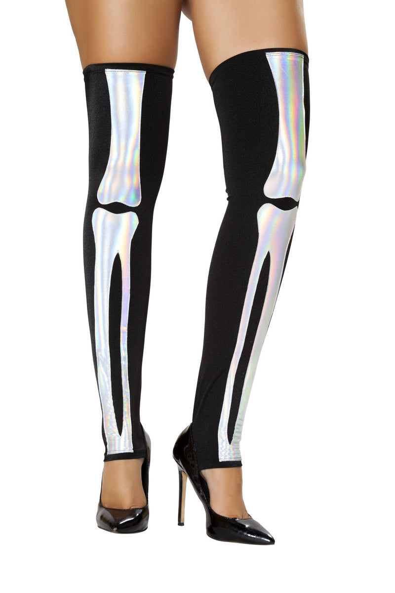 Black Silver Skeleton Leggings