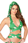 Printed Detachable Hooded Wrap Around Halter Top