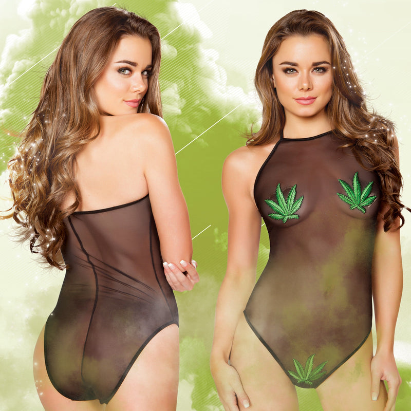 Sheer Bodysuit with Marijuana Leaf Patch