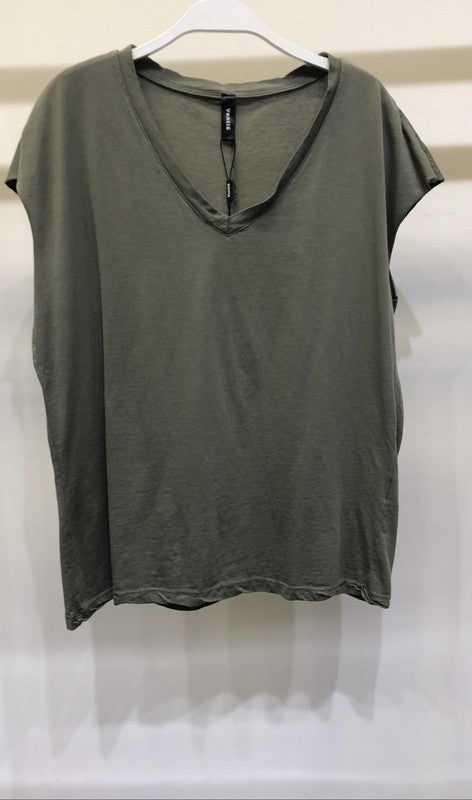 Sleeveless Oversized V Neck Tee