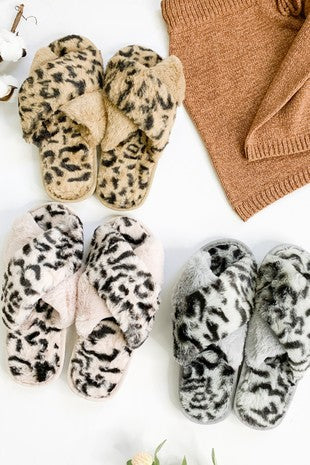 Animal Print Fuzzy Slippers