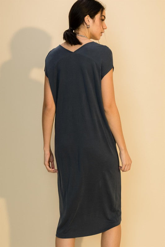 Blue Midnight V Neck Midi Dress