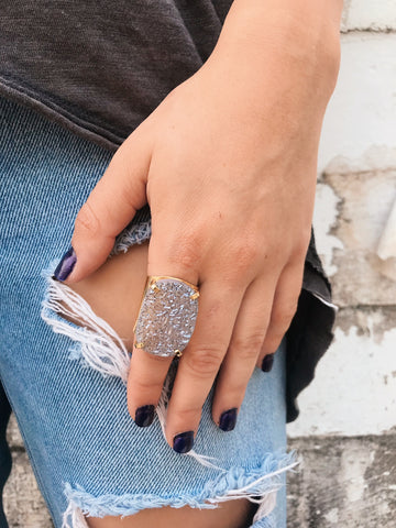 Druzy Accent Rings // Gold