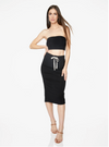 Drawstring Midi Skirt Black