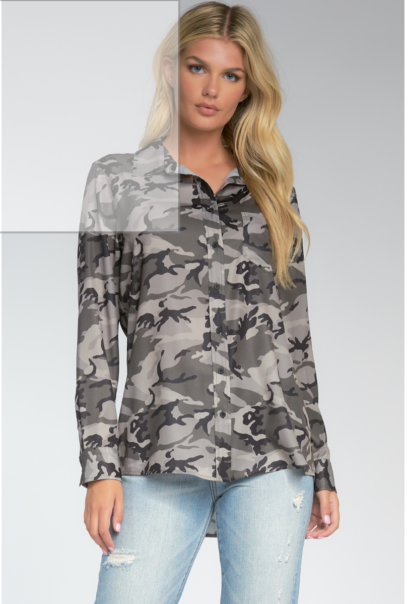 LONG SLEEVE CAMMO BUTTON DOWN