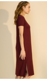 Wine Casual Knit Side Slit Dress