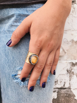 Gemstone Accent Rings // Gold