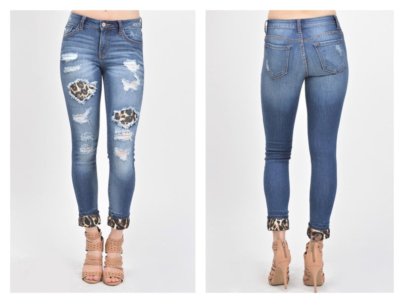 KanKan Mid Rise Animal Print Patch Ankle Skinny