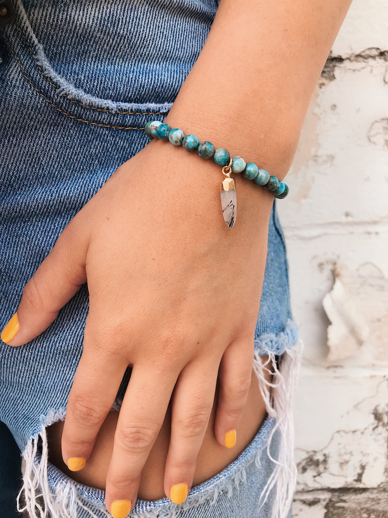 African Turquoise Bracelet // Gemstone Spike Charm