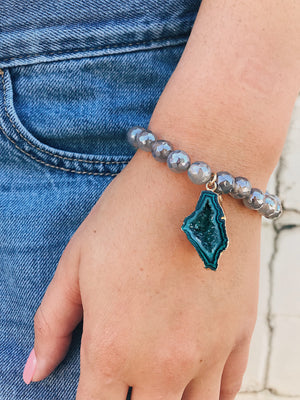 Concave Druzy on Coated Agate Bracelet
