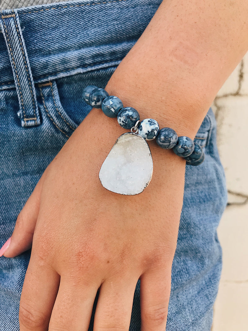 Druzy Charm on Blue Sodalite Bracelet
