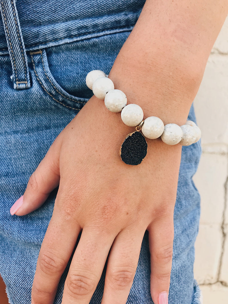 Druzy Charm on River Sediment Bracelet