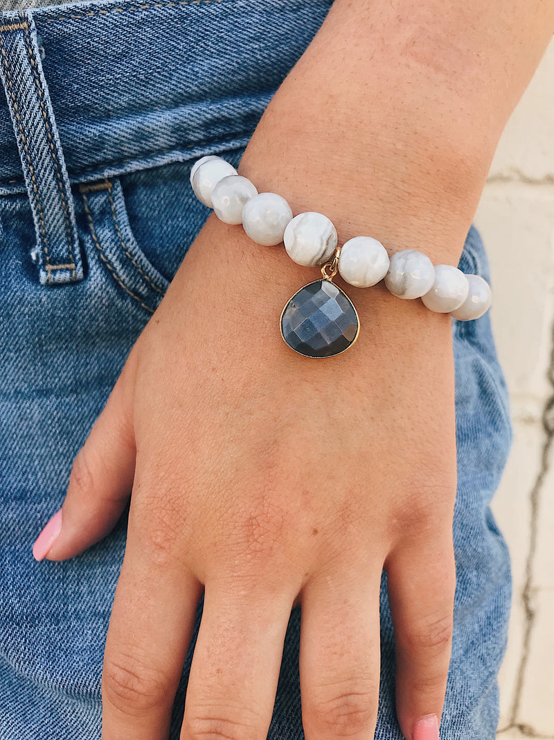 Moonstone Charm on White Lace Agate Bracelet