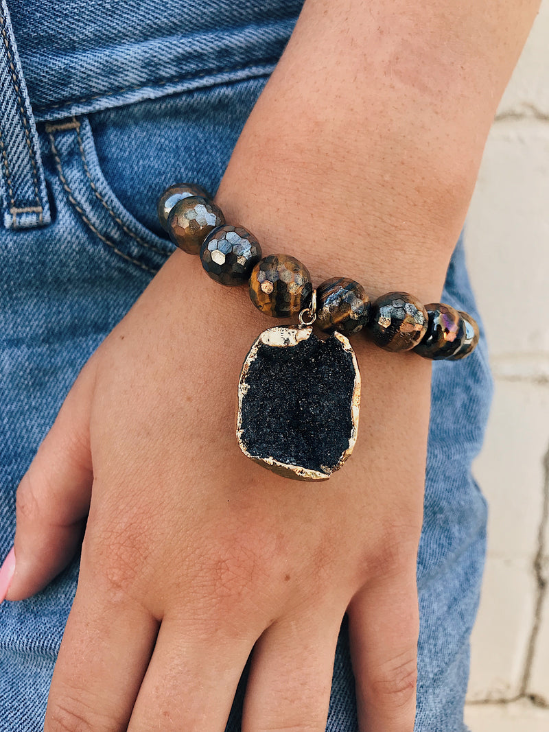 Coated Tigers Eye Bracelet // Druzy Charm