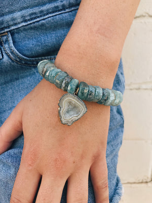 Concave Druzy on Aquamarine Bracelet