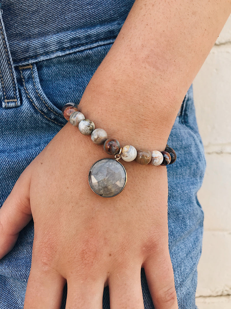 Agate Charm on Crazy Lace Agate Bracelet