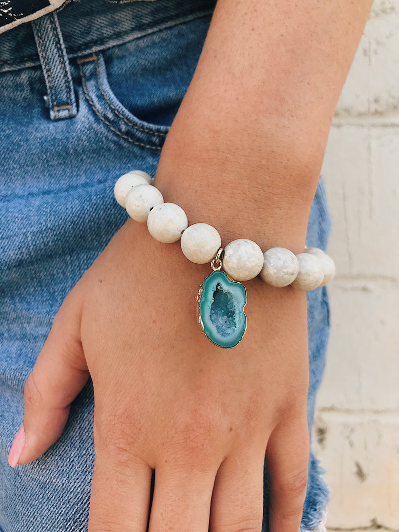 Concave Druzy on River Sediment Bracelet