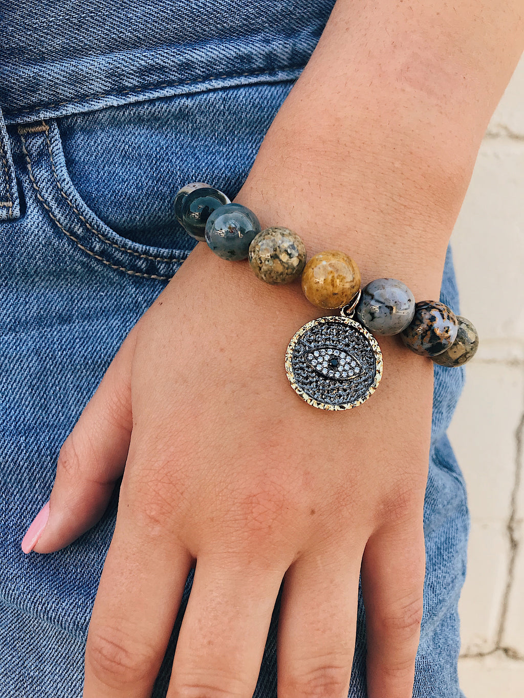 CZ Evil Eye on Ocean Jasper Bracelet