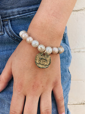 Tibetan Coin on Coated Moonstone Bracelet