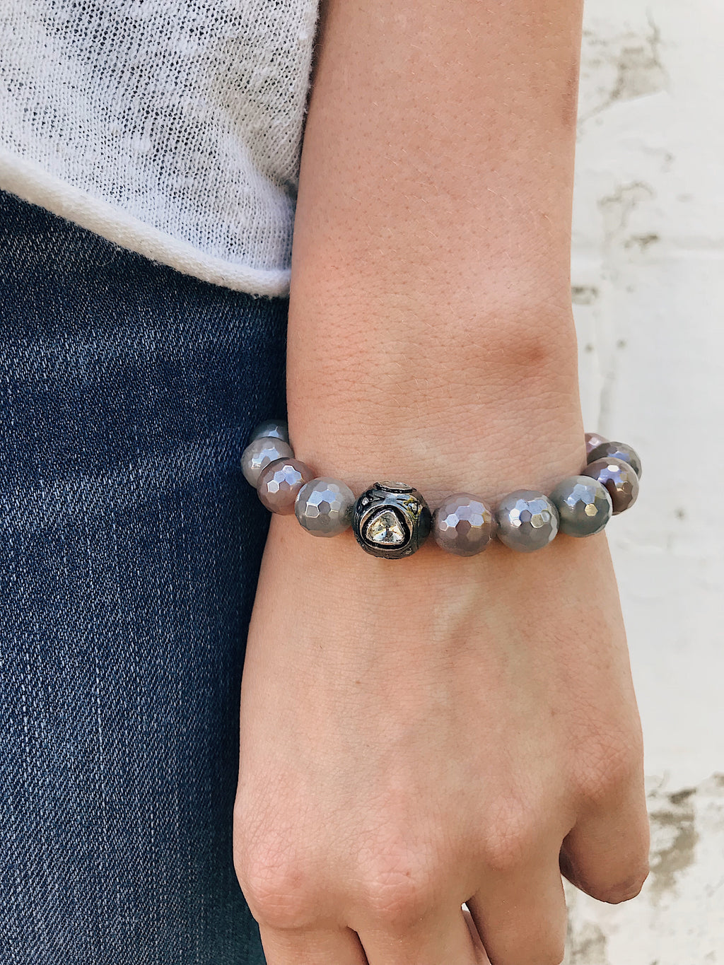 Diamond Connector on Coated Agate Bracelet