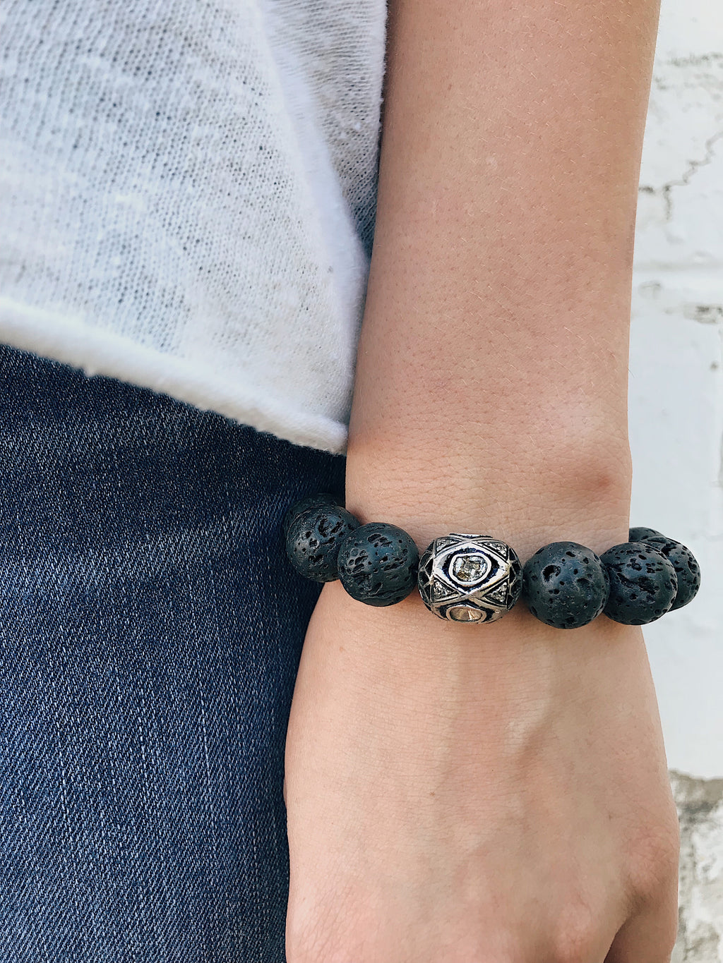 Diamond Connector on Lava Rock Bracelet