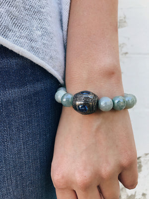 Sapphire Connector on Coated Aquamarine Bracelet