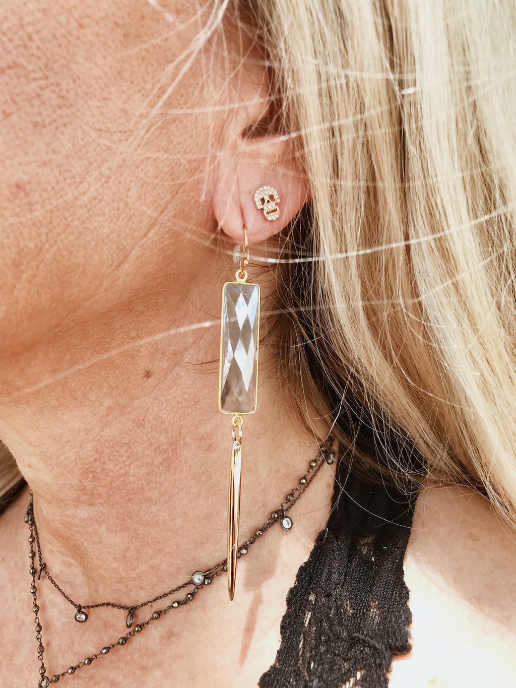 Moonstone Spike Drop Earrings