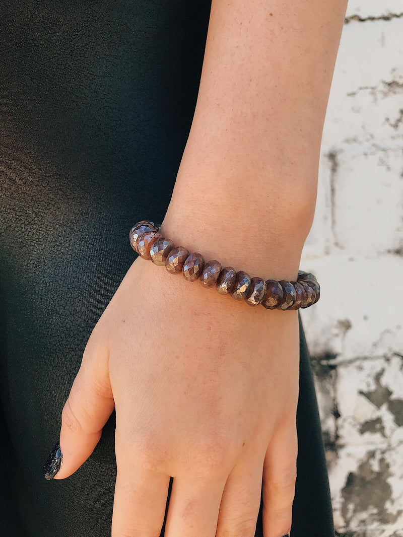 Coated Moonstone Bracelet // Chocolate