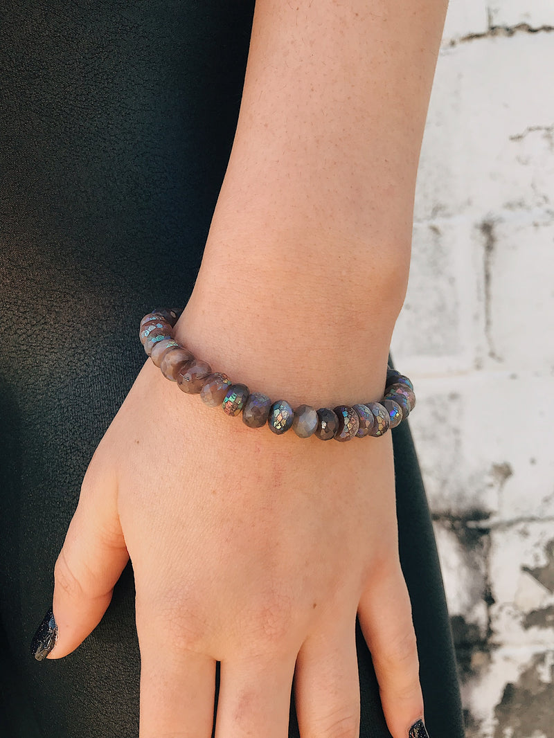 Coated Moonstone Bracelet // Rainbow Chocolate