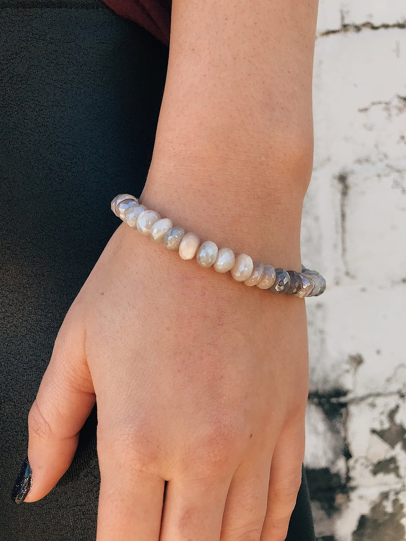 Coated Moonstone Bracelet // White