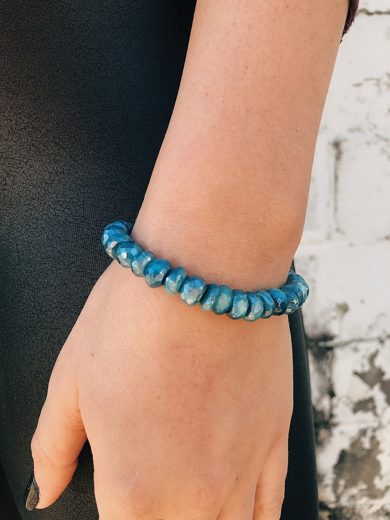 Coated Moonstone Bracelet // Aqua