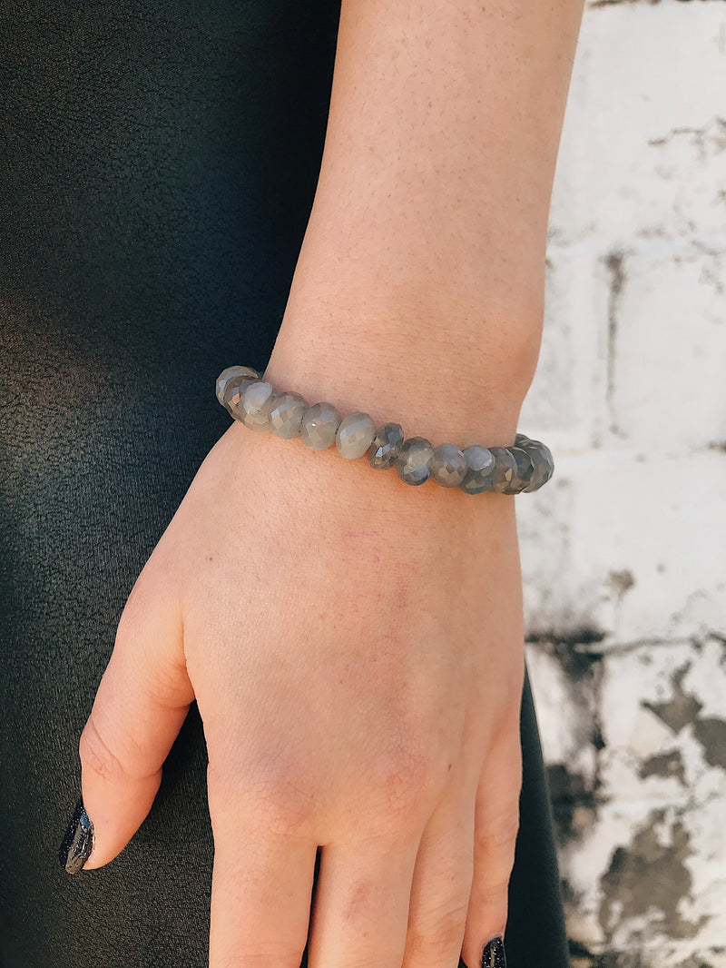 Coated Agate Bracelet // Smoke