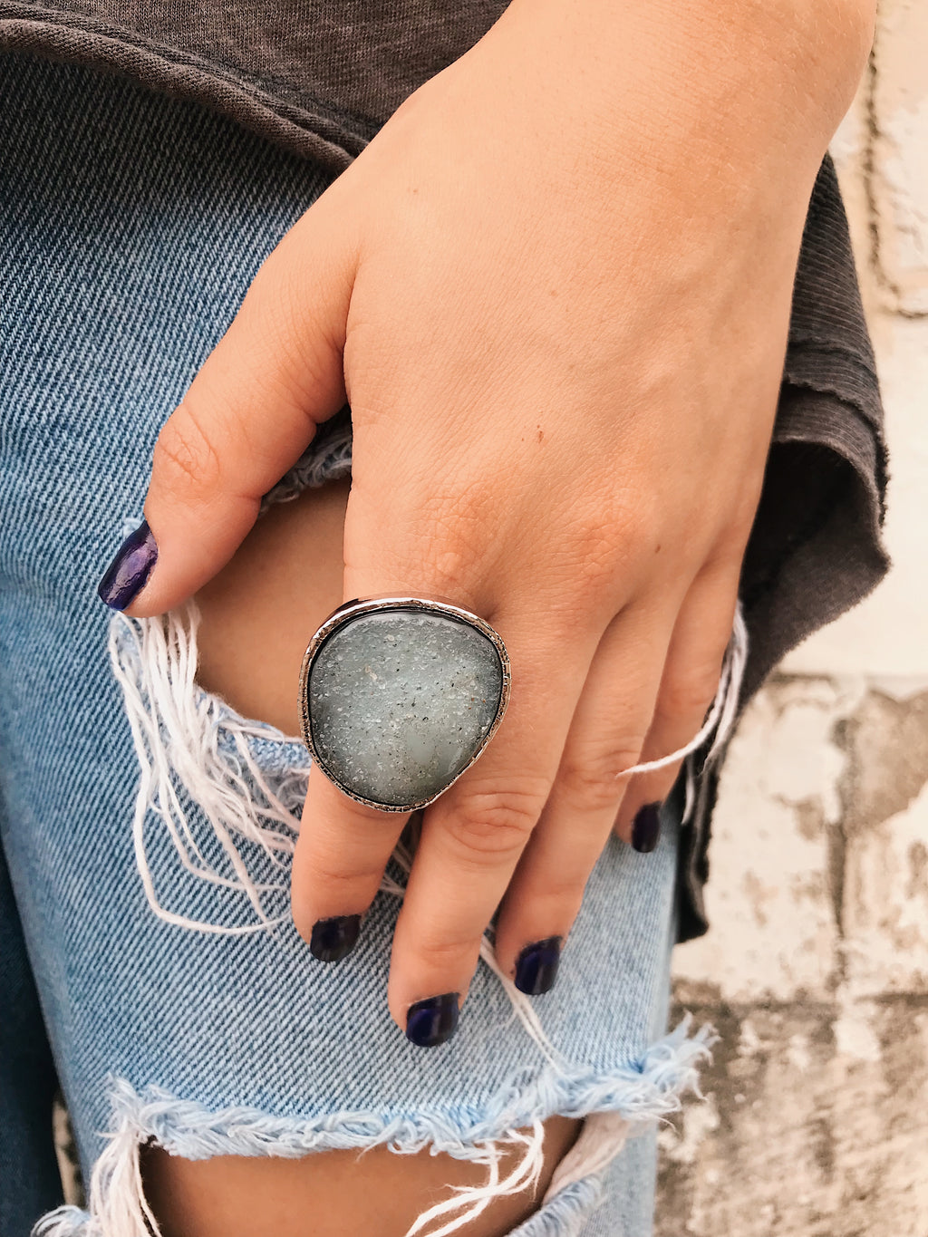 Agate Druzy Ring