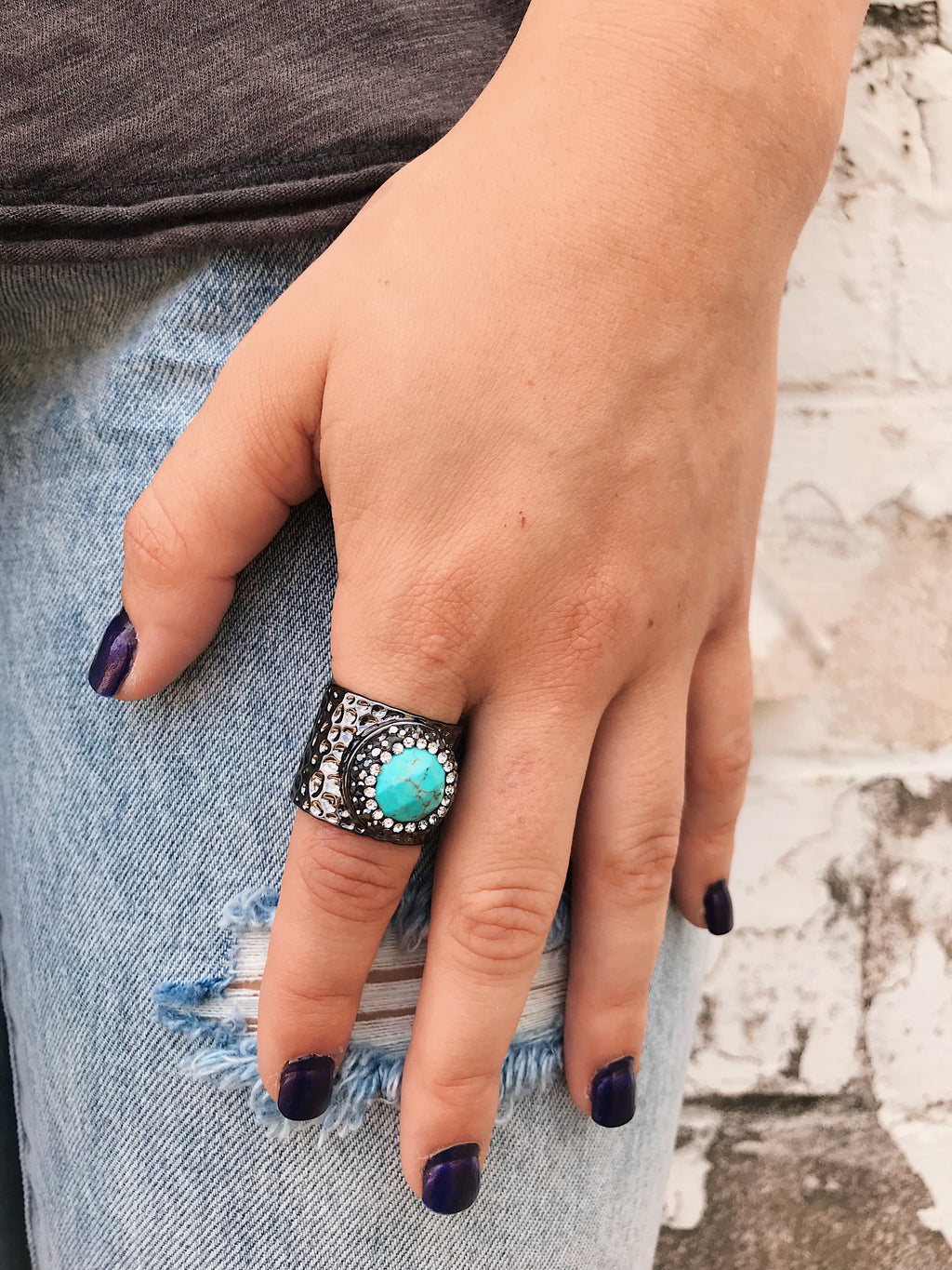 Gemstone Accent Rings // Gunmetal