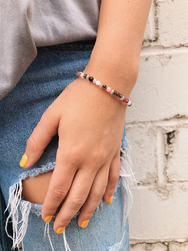 Mixed Gemstone-Crystal Bracelet // Petite