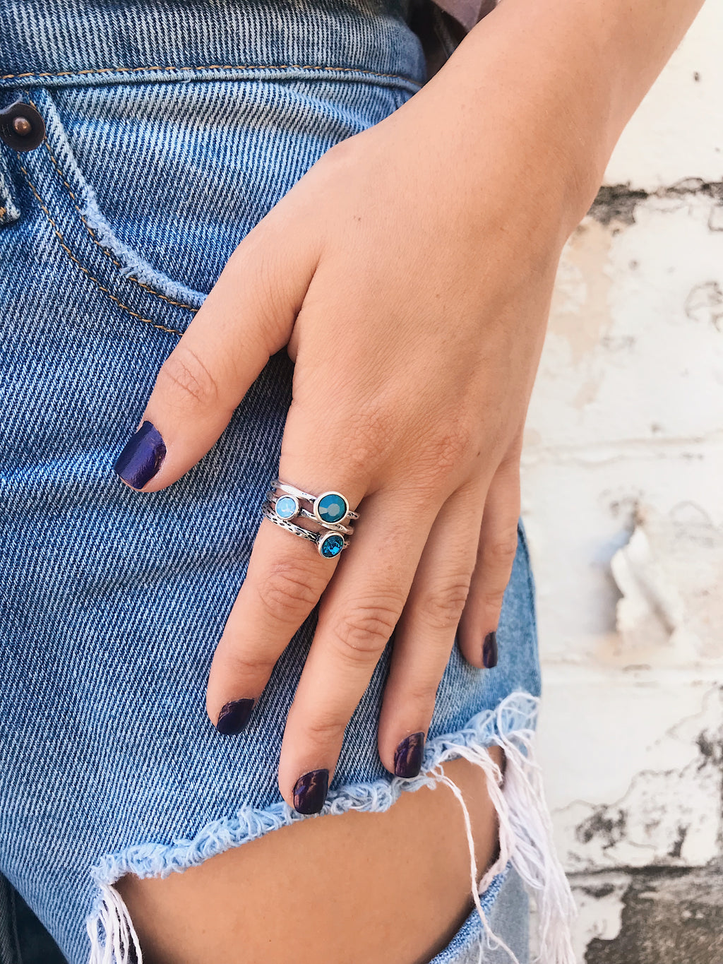 Dainty Rings // Triple Gemstone