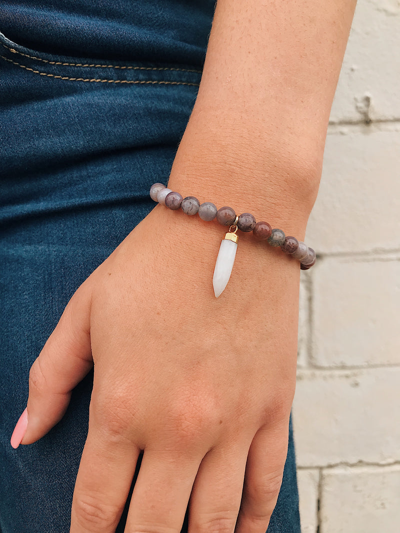 Purple Agate Bracelet // Gemstone Charm