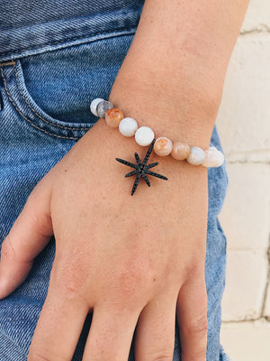 CZ Star on Crazy Lace Agate Bracelet