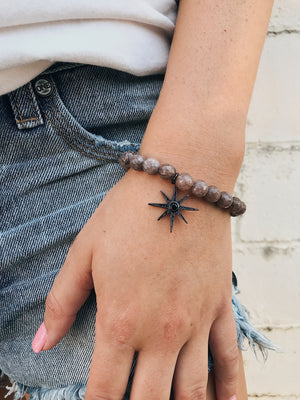 CZ Star on Purple Aventurine Bracelet