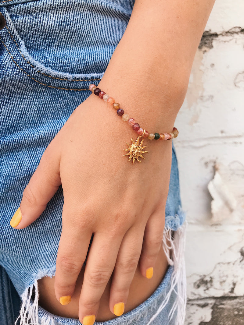 Mixed Gemstone Bracelet  // Sun Charm
