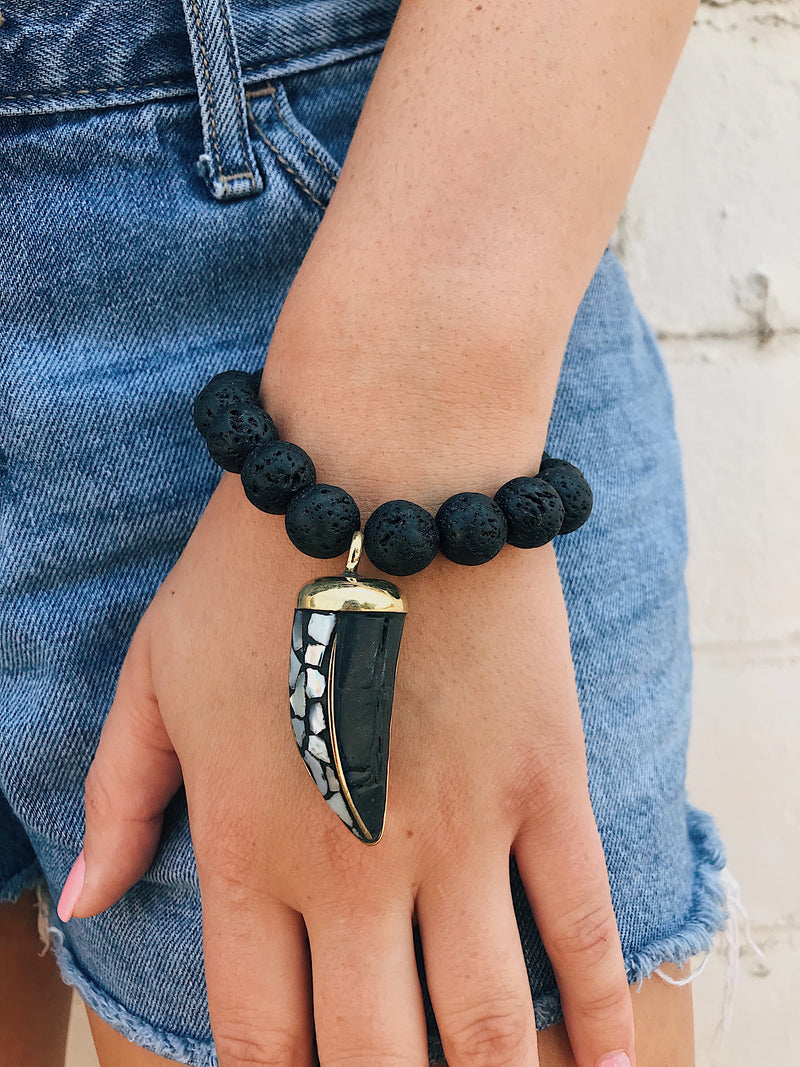 Tibetan Horn on Lava Rock Bracelet