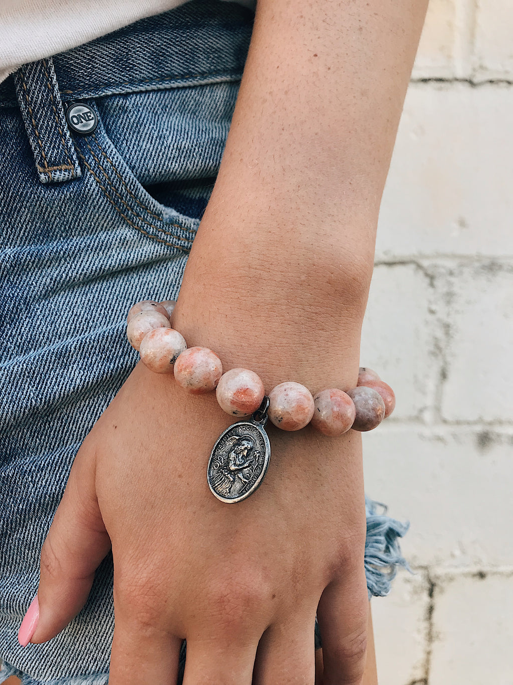 Catholic Charm on Sunstone Bracelet