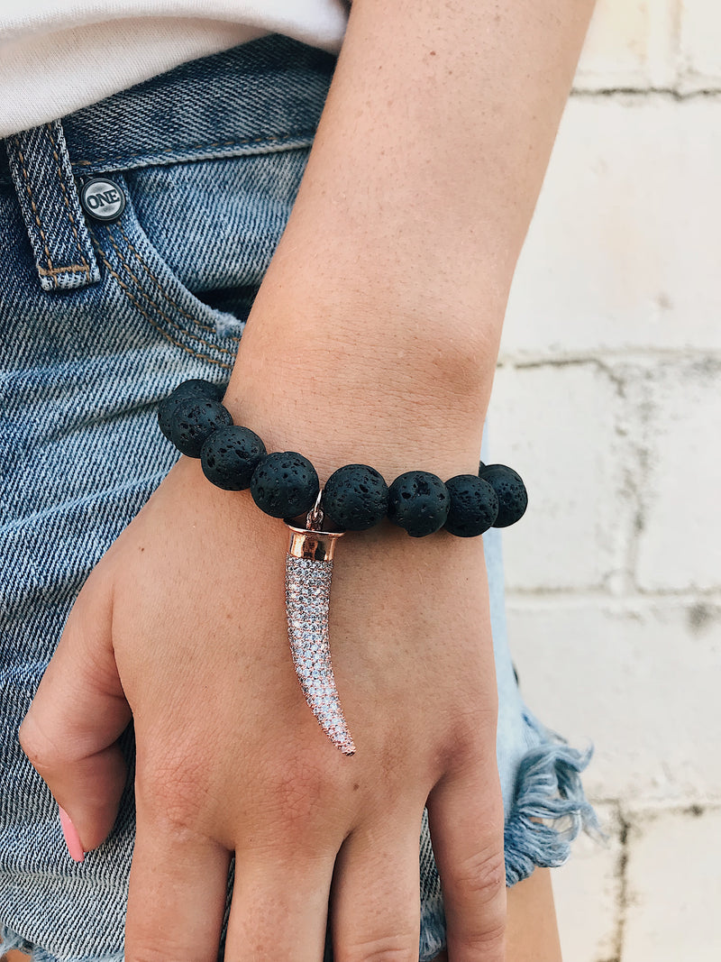 CZ Horn Charm on Lava Rock Bracelet