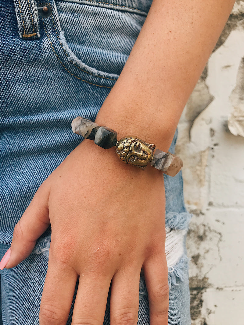 Buddha Connector on Moonstone Bracelet